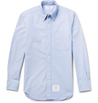 Thom Browne Slim Fit Button Down Collar Cotton Oxford Shirt Light Blue