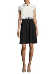 Nue By Shani Floral Lace Dress Black White