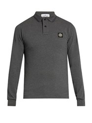 Stone Island Long Sleeved Stretch Cotton Polo Shirt Charcoal
