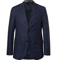 Etro Blue Slim Fit Damask Printed Stretch Cotton Blazer Blue