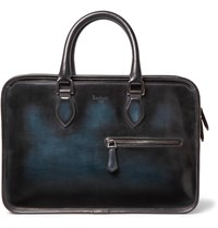 Berluti Un Jour Leather Briefcase Blue