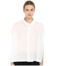 Y's By Yohji Yamamoto Roll Sleeve Button Up White Women's Blouse