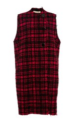 Marni Plaid Wool Button Vest Red