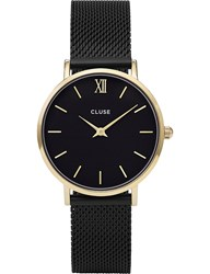Cluse Cl30026 Minuit Stainless Steel Mesh Watch Gold Black