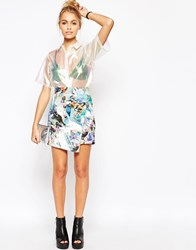 Jaded London Crystal Neoprene Asymmetric Skirt Multi