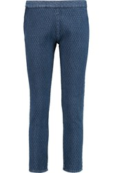 Etoile Isabel Marant Kelly Quilted Mid Rise Straight Leg Jeans Blue