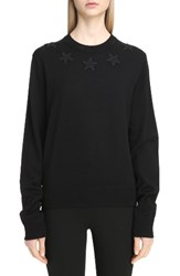 Givenchy Women's Star Embellished Wool Sweater Black