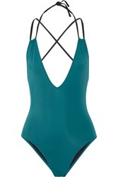 Solid And Striped The Alexandra Halterneck Swimsuit Jade