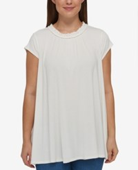 Tommy Hilfiger Plus Size Ruffled Cap Sleeve Top Ivory