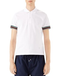 Gucci Cotton Piquet Polo Shirt With Web Detail White Size X Large