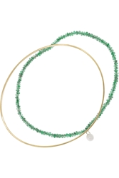 Inez And Vinoodh 18 Karat Gold Emerald And Pearl Interlinked Bracelets