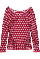 Maje Marcel Jacquard Knit Sweater Red