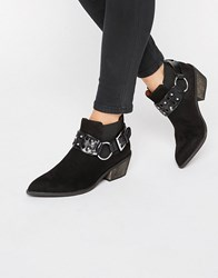 London Rebel Western Ankle Boots Black Mf
