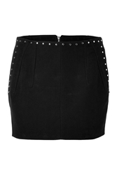 Faith Connexion Cotton Studded Mini Skirt In Black