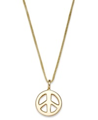 Macy's 10K Gold Necklace Peace Sign Pendant On Gold Nylon Cord