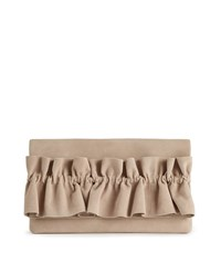 Reiss Maxima Suede Suede Ruffle Clutch In Bisque