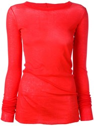 Rick Owens Long Sleeve T Shirt Red