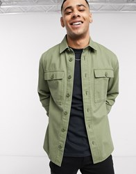 New Look Double Pocket Overshirt Shirt In Khaki Green