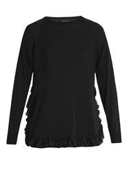 Simone Rocha Sheer Knit Frilled Hem Sweater Black