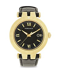 Versace Stainless Steel And Leather Strap Analog Display Watch Black