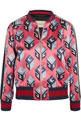 Gucci Printed Duchesse Silk Bomber Jacket Pink