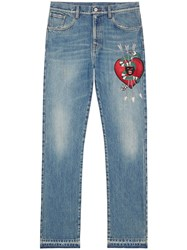 Gucci Denim Straight Pants With Embroidery Men Cotton 36 Blue