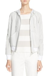 Armani Collezioni Perforated Leather Hooded Bomber Jacket Off White