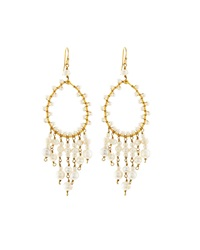 Nakamol Golden Pearl Teardrop Dangle Earrings White