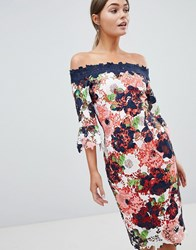 Paper Dolls Bardot Floral Printed Lace Pencil Dress Multi