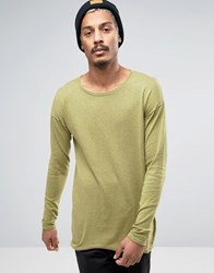 Asos Longline Scoop Neck Jumper In Green Cotton B6803 Faded Olive