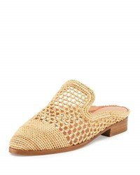 Robert Clergerie Antes Woven Raffia Loafer Mule Flat Neutral Pattern