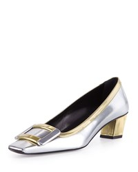 Roger Vivier Belle Metallic Buckle Pump Silver Gold Size 41.0B 11.0B Silver Gold