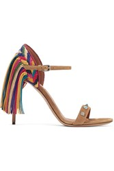 Valentino Rockstud Rolling Fringed Suede Sandals Tan