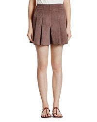 Halston Heritage Faux Suede Pleated Shorts Tobacco