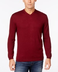 Weatherproof Vintage Men's Big And Tall V Neck Sweater Only At Macy's Pinot Noir