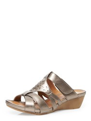 Evans Extra Wide Fit Pewter Comfort Wedge Metallic