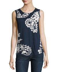 Liv Los Angeles Floral Embroidered Tank Navy
