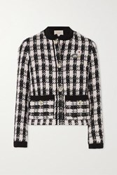 Maje Vicky Houndstooth Cotton Blend Tweed Jacket Black