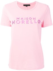 Frankie Morello Short Sleeved Logo T Shirt Pink And Purple