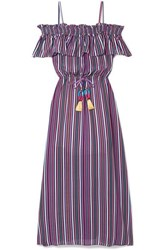 Figue Mirella Cold Shoulder Striped Silk Crepe De Chine Midi Dress Purple
