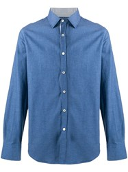 Canali Plain Button Shirt Blue