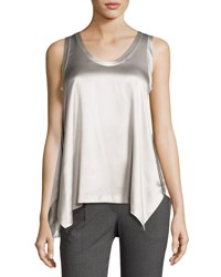 Brunello Cucinelli Satin Trapeze Tank Top Gray