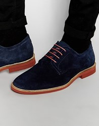 Red Tape Derby Shoes In Navy Suede Blue