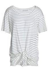Kain Label Tie Front Striped Modal And Silk Blend Jersey T Shirt White