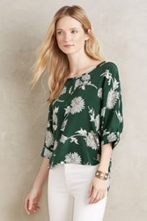 Anthropologie Lassen Silk Blouse Green Motif