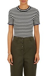 Proenza Schouler Women's Striped Silk And Cashmere Crop Top White