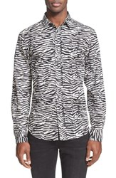 Men's Just Cavalli Trim Fit Zebra Print Sport Shirt