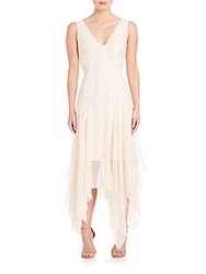Foundrae Pleated V Neck Dress Cream