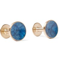 Alice Made This Bayley Gold Tone Prussian Patina Cufflinks Blue