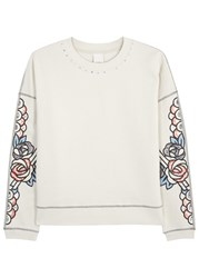 Pinko Stone Embroidered Cotton Sweatshirt Grey